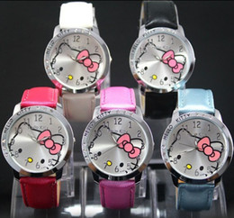 Wholesale Girl Hello - HOT Sale Fashion Cartoon Watch Hello Kitty Watches Woman Children Kids Watch Mix Color For Girls Gift