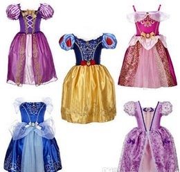 Wholesale Cinderella White Dress For Girls - 5 styles Frozen Dress Dress Princess Cinderella Dress girl's kid Christmas Halloween Role-play Costume Snow White Rapunzel Dresses For Girls