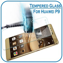 Wholesale Huawei Ascend Plus Phone - With Paper Package For Huawei P9 Plus Tempered Glass Screen Protector Film For Huawei P8 P9 Lite Mobile Phone Protective Accessories 0.26mm