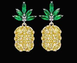 Wholesale Needle Sterling - 2017 Tropical Fruit New Pineapple Stud Earrings Full diamond pineapple earrings 925 sterling silver needles earrings Christmas jewelery L342