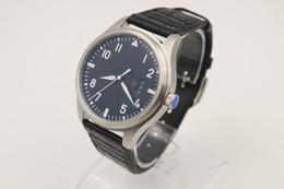 Wholesale Mechanical Pilot - Luxury Brand Men Automatic Watch Pilot Watch Leather Band free shipping HK