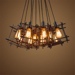 lámpara de trabajo industrial Rebajas American Loft pendiente de la vendimia luz Personalidad Hierro forjado ilumina Edison bombilla de la lámpara nórdico jaula industrial accesorios de iluminación de la lámpara