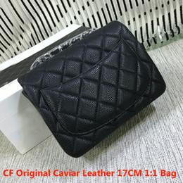 Wholesale More Metallic - Mirror quality black cf original caviar leather mini flap bag 17cm brand women single shoulder bag crossbody bag wholesale more colors