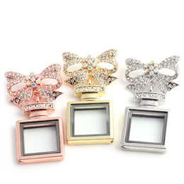 Wholesale Bowknot Glasses - 3 colors Bowknot Square perfume bottle glass Memory Floating Charm Locket Alloy + Crystal Rhinestone Pendant Necklace DIY Jewelry