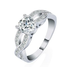 Wholesale Princess Diamond Engagement Ring Set - Luxury 18k White Gold Plated Wedding Anniversary Engagement Ring Set Princess CZ Created Diamond Jewelry Wholesale
