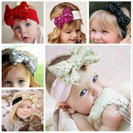 Wholesale Toddler Sale - Girl Hair Accessories Sequined Big Bow Baby Headbands paillette Headdress Soft Cotton Hairband Infant Toddler Christmas Gift Hot Sale KHA229