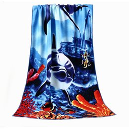 Wholesale Fitness Bath - Dolphins and Tigers Pattern Microfiber Fabric Beach Towel Quick-Dry Comfortable and Soft Bath Towel Fitness Beach Swim Camping