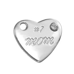 Wholesale Wholesale Engraved Bracelet Charms - Stainless Steel Charms Antique Silver Plated Heart Charm Engraved Letter #1 MOM the Pendant for Bracelets Necklaces Making