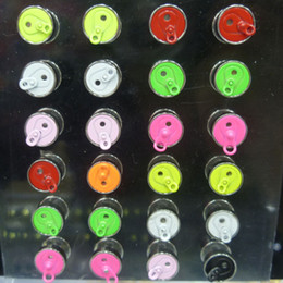 Wholesale Neon Piercing - Fashion 9mm Neon Candy Colors Fake Ear Plug Stud Stretcher Ear Tunnel Earring Piercing Stainless Steel Body Jewelry 7289