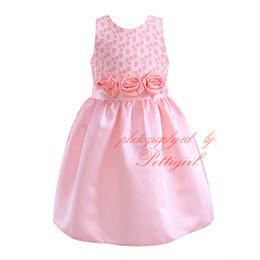 Wholesale Fashion Boutique Color Line - Pettigirl New Arrival Pink Princess Dresses With Rose Flower Sashes Fashion Geometric Pattern A-line Dresses Boutique Clothes DMGD81020-3L