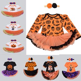 Wholesale Baby Rompers Skulls - 16 Styles Baby Rompers Infant Pumpkins Skull Halloween Rompers One Piece Suit+Bowknot Headbands 2016 Toddlers Onesies Tutu Dress Rompers