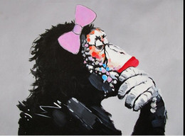 Wholesale wall street canvas - GIRL ape street graffiti thinker,Handpainted Monkey Animal Wall Decor Art Oil Painting On Canvas.Multi customized sizes accepted moor graf97