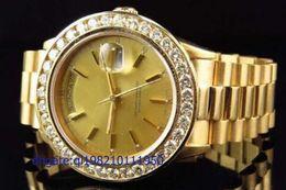 Reloj de hombre 18k diamante online-Relojes de lujo automáticos de lujo del reloj de 18038 18k del oro amarillo del diamante de la calidad superior de los hombres automáticos del reloj de los hombres