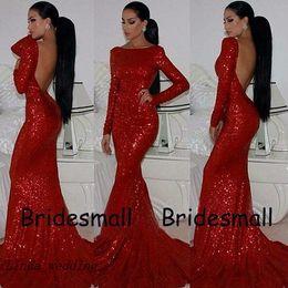 vestidos de formatura Desconto Frete Grátis Sparkly Prom vestidos Chegada Nova Backless Sereia Bainha Vestido de Lantejoulas Vermelhas Vestido de Alta Pescoço Vestidos Formais