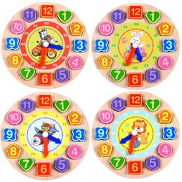 Wholesale Wooden Clock Puzzle - Kids Wooden Puzzle Toys Cognitive Digital Clock Digital Wooden Watch Jigsaw Toys Cartoon Threading Assembly Toys