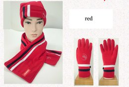 Wholesale Hat Glove Sets Fleece - Winter Outdoor Snow Skiing Sport Fleece Glove Hat Scarf 3 Sets Soft Warm Stripe white red black Women