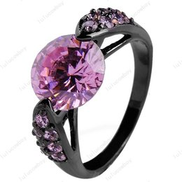 Wholesale 14kt Gold Sapphire Rings - Wholesale -Pink Sapphire Color Women Fashion Jewelry 14Kt Black Gold Filled Zircon Finger Ringssize 6 7 8 9 10High Quality Rb 0027-6-10