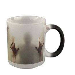 Wholesale Ceramic Color Changing Mug - The Walking Dead Mugs Color Change Ceramic Coffee Mug and Cup Fashion Gift Heat Reveal Magic Zombie Mugs for Friend