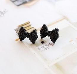 fil étoile rouge Promotion Noeud noir belle boucles d'oreilles plein diamant goujon Vintage noir cristal gros noeud mignonne belle boucles d'oreilles