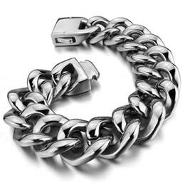 Wholesale Heavy Stainless Wrist - newest Men's Large Heavy Stainless Steel Bracelet Link Wrist Silver Biker