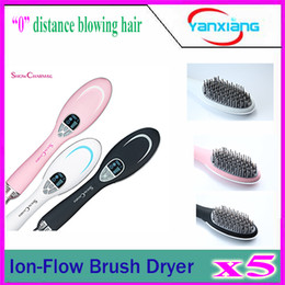 Wholesale Flowing Hair - 5pcs 2016 Ion-Flow Brush Dryer Professional Ion-Flow Brush Dryer health freedom promotes anion dry hair comb YX-GF-01