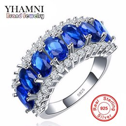 Wholesale vintage silver rings 925 - YHAMNI Luxury New Fashion 925 Silver Sterling Ring Jewelry Blue Diamond 10KT Vintage Party Engagement Wedding Rings For Women R009