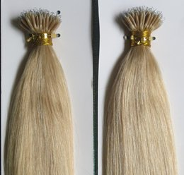 Wholesale Nano Rings Black Hair - 5A Grade 10-28'' Straight 100 Beads +0.5g*100s Black Brown Blonde Mixed Ombre Colors 100% Indian Remy Human Hair Extensions Nano Rings