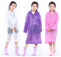 Wholesale Boy Raincoats - Kids Raincoats student transparent EVA Jacket children Girl Rain coat Poncho Raincoat Cover Long boy Rainwear c217