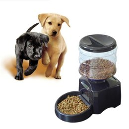 Wholesale Food Smart - 2016 New 5.5L Automatic Pet Feeder with Voice Message Recording and LCD Screen Large Smart Dogs Cats Food Bowl Dispenser Black