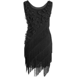 Wholesale Latin Dress Fringe Black - Roaring 20's 1920s Beaded Fringe Scalloped Petal Origami Charity Great Gatsby Themed Party Ball Flapper Fancy Dress Costumes
