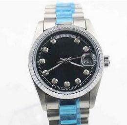 Wholesale Low Priced Black Diamonds - Men Luxury President Bracelet Stainless Steel Watches Day Date Diamonds Black Dial Fashion Mens Automatic Mechanical Wristwatch Lowest price