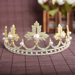 Wholesale Silver Tone Headband - Exquisite Wedding Bridal Hair Accessories Pearl Crowns Alloy Headbands Gold  Silver Tone Tiaras Leaf Crown Women 'S Hair Jewelry