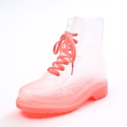 Wholesale Clear Rain Boots Womens - Clear Rubber Jelly Lace Up Oxford Ankle Combat Rain Boots Womens Shoes Size35-40