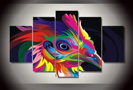 Wholesale Colorful Abstract Landscape - 5 Panel Framed Printed Colorful Chicken Painting children's room decor print picture canvas
