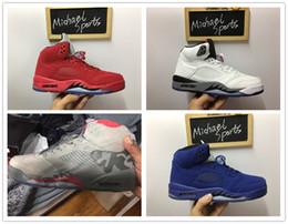 Wholesale Retro White Cement - retro 5 white cement red blue suede women men camo basketball shoes Oreo bel air metallic black white grape 5s sports shoes sneakers