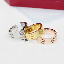Wholesale Titanium Wedding Rings For Couple - Titanium steel rose gold Love screw rings 6MM for woman jewelry 18K gold rings fashion jewelry lover Valentine for women couple ring jewelry