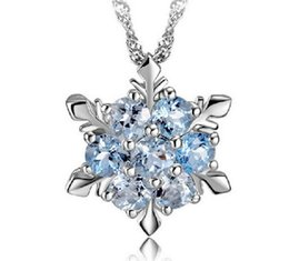 Wholesale Gold Crystal Snowflake Charm - Necklace Sliver Crystal snow Flower Children Blue Simple Snowflake Necklace Pantagram Charm Vintage Children Necklace Beautiful