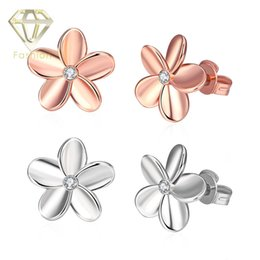 Wholesale Rhinestone Single Earring - Hypoallergenic Earrings Low Price Rose Gold Platinum Plated Single Crystal Sweet Flower Stud Earrings Jewelry for Women Party