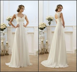 Wholesale trendy chiffon dresses - Only $69.89 High Quality Lace Chiffon Wedding Dresses Empire For Pregnant Women 2016 Sweetheart A Line Summer Beach Bridal Gowns New Trendy