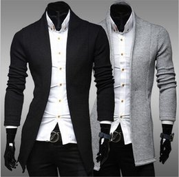Wholesale Cardigan Simple - Wholesale- Winter 2016 new men's simple cardigan sweater slim Mens V neck knit shirt jacket
