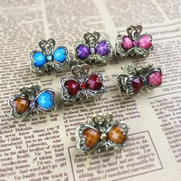 Wholesale Crystal Hair Grips - 5pcs lot Mix Color Ladies Retro Vintage Design Crystal Bronze Small Hair Claws Clip Hairpins Hair Grip Accessories Jewelry HP018