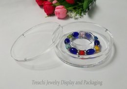 Wholesale Clear Display Packaging Gift Boxes - Wholesale 10pcs lot Jewelry Display Clear Plastic Bangle Box, Small Round Hard Bracelet Box Gift Packaging Case