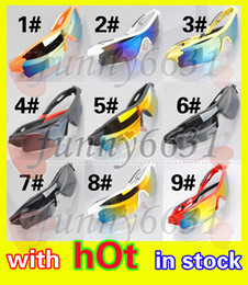 Wholesale Mix Pcs - summer newest style Only SUN glasses 9 colors sunglasses men Bicycle Glass NICE sports sunglasses Dazzle colour glasses A+++ free shipping