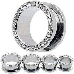 Wholesale 4mm Expander Tunnel Ear - Crystal Stainless steel ear plugs flesh tunnels,Earring Hollow Expander Ear Gauges Kit,Piercing Jewelry 4MM - 16MM for Choosing
