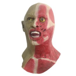 Wholesale Scary Devil Mask - Halloween Double-faced Scary Mask Natural Latex Creepy Horror Blood Devil Full Head Masks Costumes Party Cosplay Masquerade Props