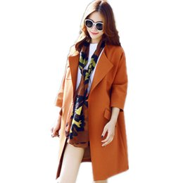 Wholesale Top Hat Beads - Plus Size Clothes Women Long Trench Coat 2017 Winter Spring Autumn Fashion Slim Was Thin Overcoat Outerwear Tops C110