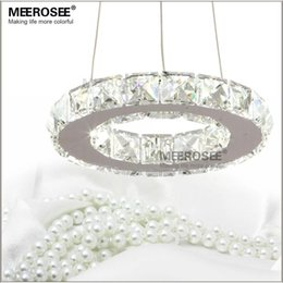 Wholesale semi mounts diamond rings - LED Crystal Chandelier Lamp Stainless Steel Crystal Round Ring Chandelier 8W LED Diamond Light for Dinning Room Free Shipping