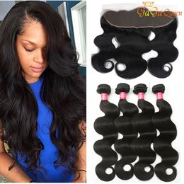 Wholesale 32 Inch Peruvian Body Wave - 8a Brazilian Body Wave Human Hair With 4x13 Lace Frontal Closure Ear to Ear Lace Frontal With Bundles Brazilian virgin hair Body Wave