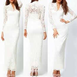 Wholesale Mermaid Scallop Dresses - Fashion Ladies' Sexy V-Neck Slim Scallop Neck Lace Women Maxi Dress Long Sleeve White Black Blue G0123