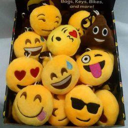 Wholesale Fun Keychains - 50PCS LOT 6Cm Black Plastic Buckle Plush Emoji Keychain Creative Fun Pendant Key Chains